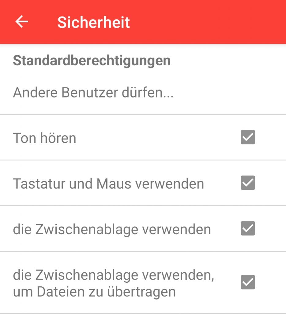 Die Berechtigungen in den AnyDesk-Sicherheitsanstellungen in Android